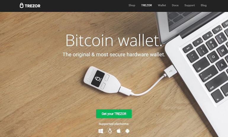 TREZORの公式サイトのトップ画面