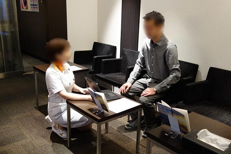 メンズTBC名古屋本店の受付