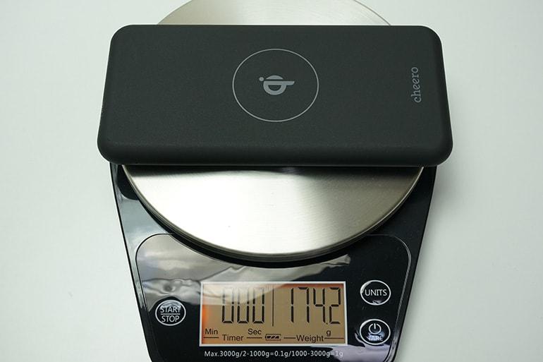 cheeropowermix本体の重量を計測している所