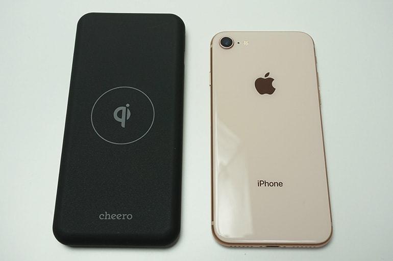 cheeropowermix本体とiPhone8の大きさ比較