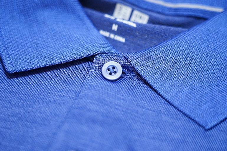 ユニクロのドライEXポロシャツのボタン部分