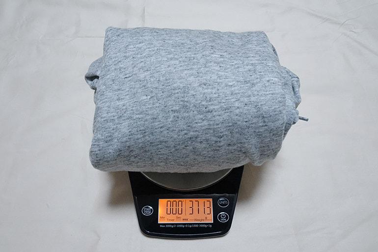 ユニクロのエアリズムフルジップパーカの重さ