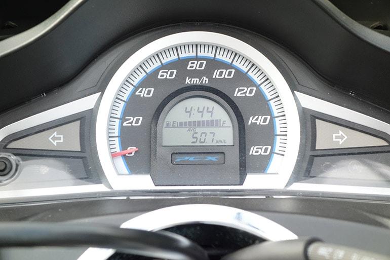 空気圧150kPa時のPCX150の燃費(50.7km/L)