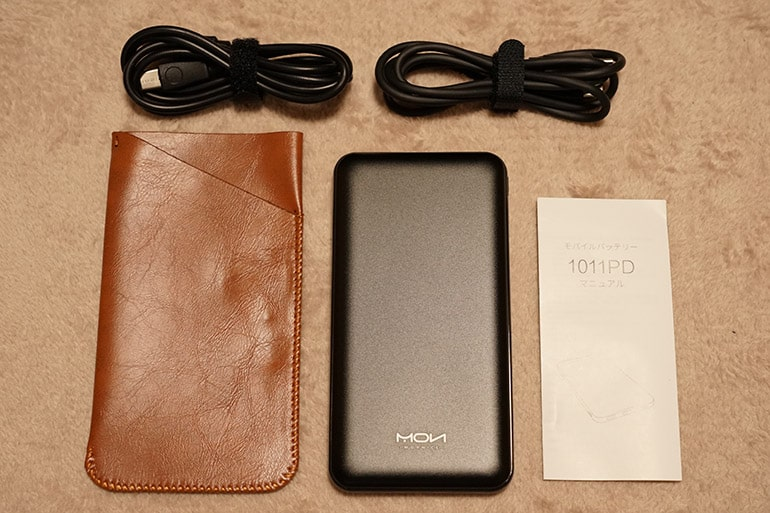 MOXNICEのUSB PDモバイルバッテリーの内容物