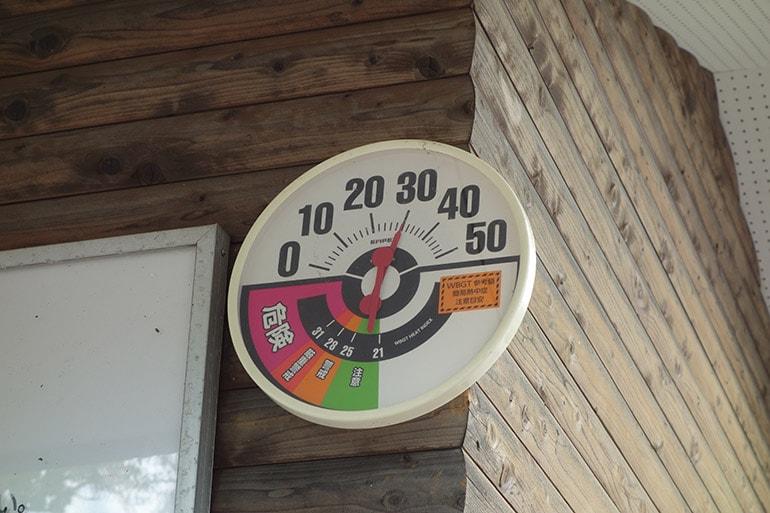 生駒山麓公園フィールドアスレチックの熱中症計測器
