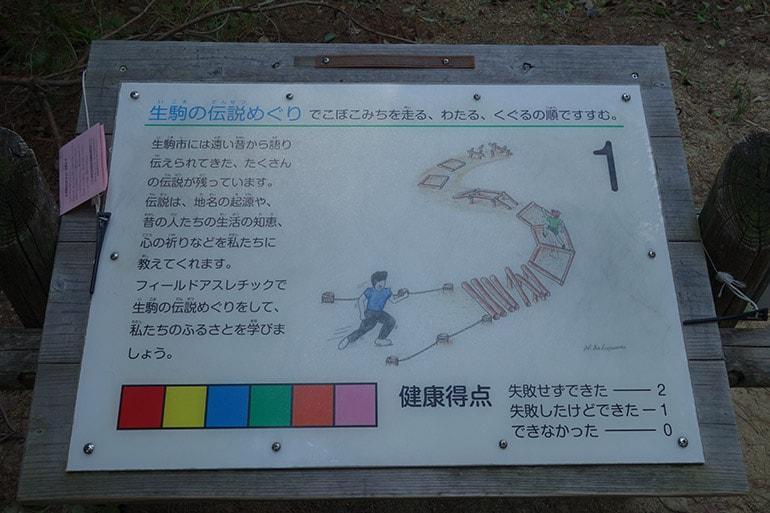 生駒山麓公園フィールドアスレチック「生駒の伝説めぐり」案内板