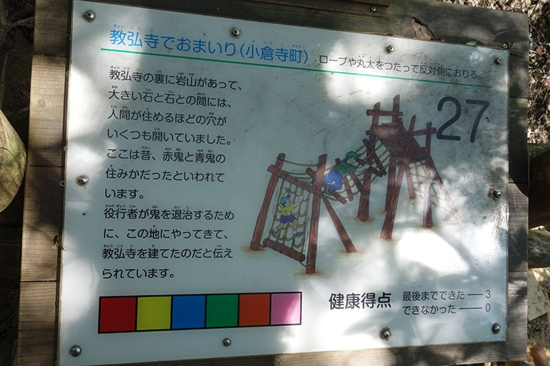 生駒山麓フィールドアスレチック「教弘寺でおまいり(小倉寺町)」案内板