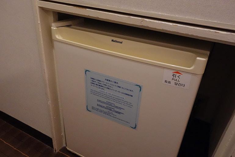 新阪急ホテルの客室の冷蔵庫(ナショナル製)