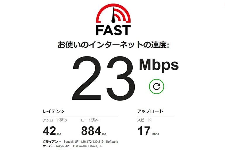 Yahoo!wifiの通信速度の計測結果