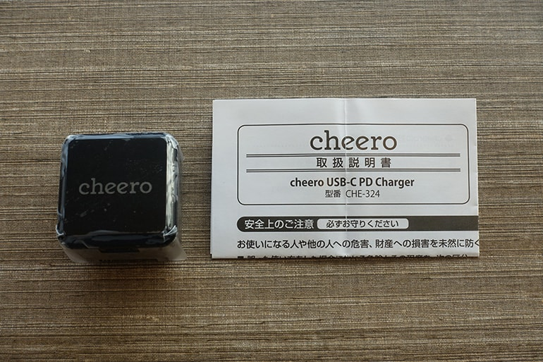 cheeroのUSB PD充電器「CHE-324」の内容物