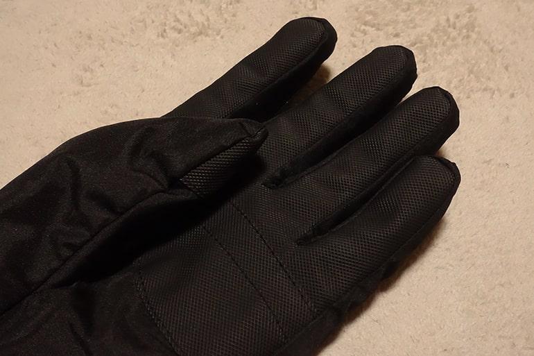 セブンイレブンのスベリ止め付き中わた手袋の指まわり